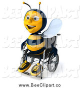 Clip Art of a 3d Happy Disabled Bee in a Wheelchair by Julos