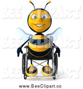 Clip Art of a 3d Happy Disabled Bee Sitting in a Wheelchair by Julos
