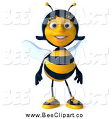 Clip Art of a 3d Happy Female Bee by Julos