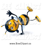 Clip Art of a 3d Happy Female Bee Doing a Hand Stand by Julos