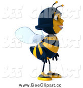 Clip Art of a 3d Happy Female Bee Facing Right by Julos