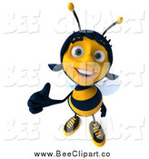 Clip Art of a 3d Happy Female Bee Holding a Thumb up by Julos