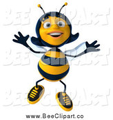 Clip Art of a 3d Happy Female Bee Jumping by Julos