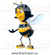 Clip Art of a 3d Happy Female Bee Presenting to the Left by Julos
