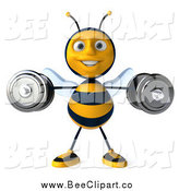 Clip Art of a 3d Happy Honey Bee Lifting Weights by Julos