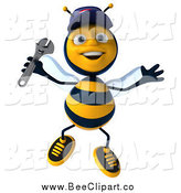 Clip Art of a 3d Happy Jumping Mechanic Bee by Julos