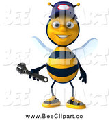 Clip Art of a 3d Happy Mechanic Bee Holding a Wrench by Julos