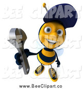 Clip Art of a 3d Happy Mechanic Bee Holding up a Wrench by Julos
