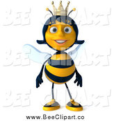 Clip Art of a 3d Happy Queen Bee by Julos