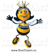 Clip Art of a 3d Happy Queen Bee Jumping by Julos