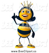 Clip Art of a 3d Happy Queen Bee Looking up and Pointing by Julos
