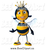 Clip Art of a 3d Happy Queen Bee Presenting by Julos
