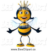 Clip Art of a 3d Happy Queen Bee Welcoming by Julos