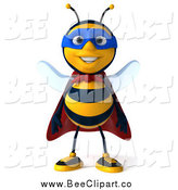 Clip Art of a 3d Happy Super Honey Bee by Julos