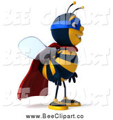 Clip Art of a 3d Happy Super Honey Bee Facing Right by Julos