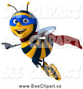 Clip Art of a 3d Happy Super Honey Bee Flying and Pointing by Julos