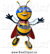Clip Art of a 3d Happy Super Honey Bee Jumping by Julos