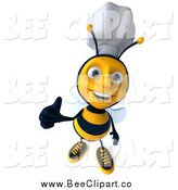 Clip Art of a 3d Happy Thumb up Chef Bee by Julos