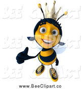 Clip Art of a 3d Happy Thumbs up Queen Bee by Julos