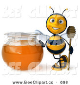 Clip Art of a 3d Honey Bee Character Holding a Honey Wamd by a Bowl of Honey by Julos