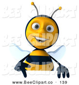 Clip Art of a 3d Honey Bee Character Pointing down at a Sign by Julos