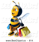 Clip Art of a 3d Honey Bee Character Shopping by Julos