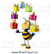 Clip Art of a 3d Honey Bee Facing Slightly Left, Looking up and Juggling Gifts by Julos