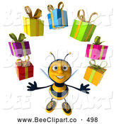 Clip Art of a 3d Honey Bee Juggling Presents by Julos