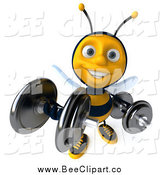 Clip Art of a 3d Honey Bee Lifting Weights and Smiling by Julos
