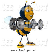 Clip Art of a 3d Honey Bee Working out and Lifting Dummbells by Julos
