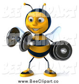 Clip Art of a 3d Honey Bee Working out with Weights by Julos