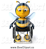 Clip Art of a 3d Lonely Disabled Bee in a Wheelchair by Julos