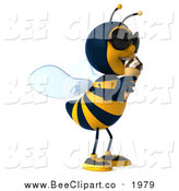Clip Art of a 3d Male Bee Wearing Sunglasses and Eating an Ice Cream Cone by Julos