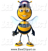 Clip Art of a 3d Mechanic Bee Standing by Julos