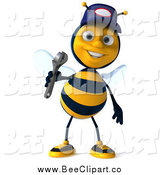 Clip Art of a 3d Mechanic Bee Wearing a Hat and Holding a Wrench by Julos
