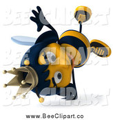 January 3rd, 2014: Clip Art of a 3d Queen Bee Cartwheeling by Julos