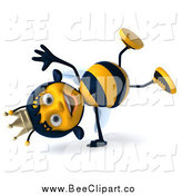 Clip Art of a 3d Queen Bee Cartwheeling by Julos