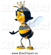Clip Art of a 3d Queen Bee Facing Left and Presenting by Julos