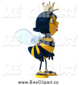 Clip Art of a 3d Queen Bee Facing to the Right by Julos