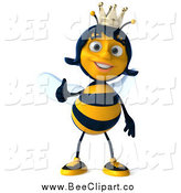 Clip Art of a 3d Queen Bee Giving a Thumb up by Julos