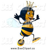 Clip Art of a 3d Queen Bee Jumping and Facing Right by Julos