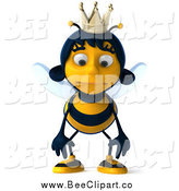 Clip Art of a 3d Queen Bee Pouting by Julos
