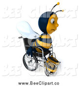 Clip Art of a 3d Sad Disabled Bee in a Wheelchair, Facing Slightly Right by Julos