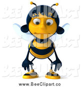 Clip Art of a 3d Sad Female Bee Pouting by Julos