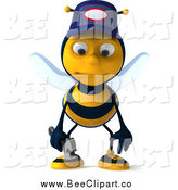 Clip Art of a 3d Sad Mechanic Bee Pouting by Julos