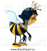 Clip Art of a 3d Sad Queen Bee Pouting by Julos