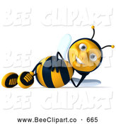 Clip Art of a 3d Sexy Bee Character Relaxing on His Side by Julos