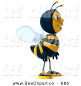 Clip Art of a 3d Striped Bee Character Smiling to the Right by Julos