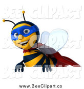Clip Art of a 3d Super Hero Honey Bee Above a Sign by Julos