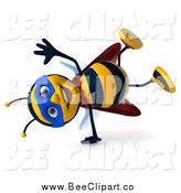 Clip Art of a 3d Super Hero Honey Bee Doing a Hand Stand by Julos